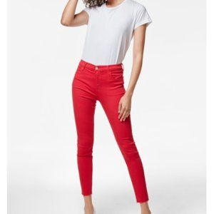 J BRAND Alana High Rise Crop Carmine Red Sz 26